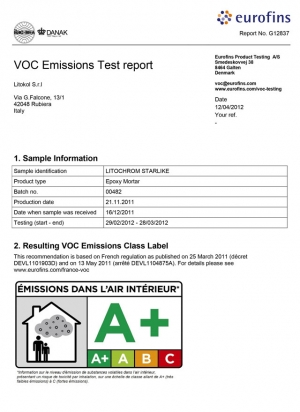 Certificate OF LOW EMISSION VOLATILE SUBSTANCES EPOXY-BASED PRODUCTS